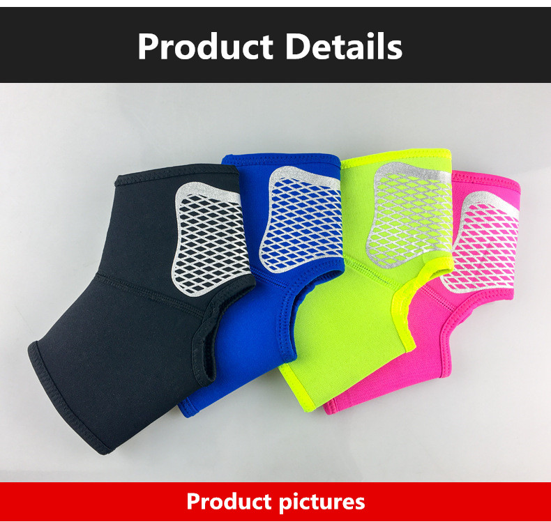 Blue black red yellow stabilizer sport protection ankle brace sleeve for unisex people