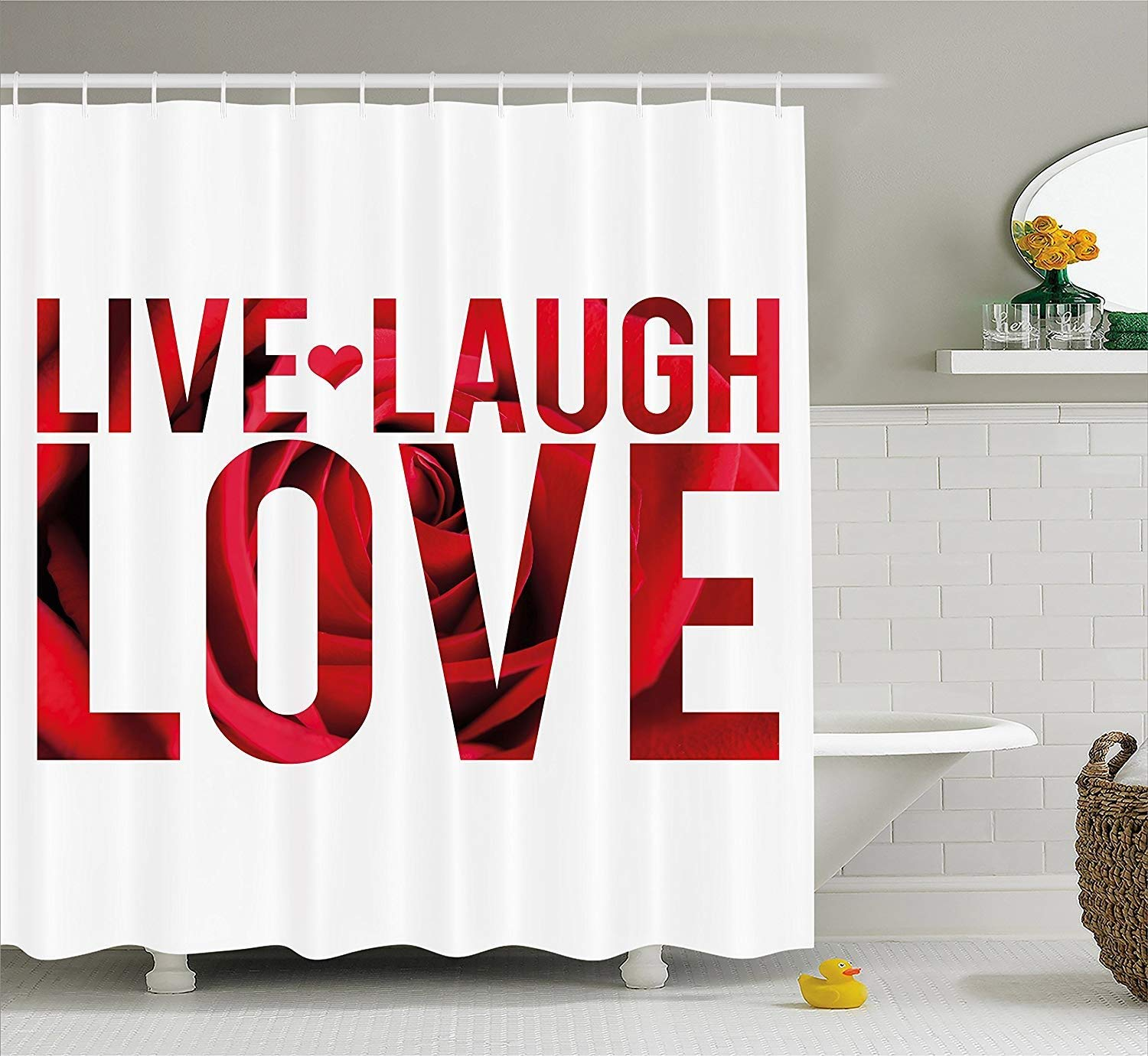 Shower Curtain Live Laugh Love Decor, Typographic Montage Words with Macro Rose Petals Texture Print, Fabric Bathroom Decor Set with Hooks,Red White Black 60X72 Inch