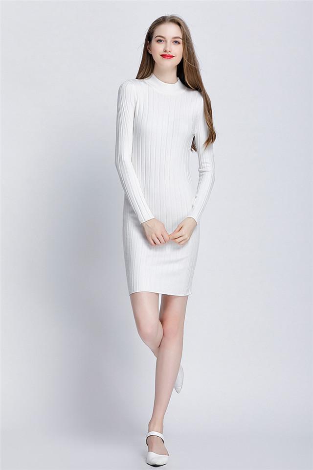 0b899a2eb22 GOPLUS New Ribbed Knit Sweater Dress Spring Autumn Women Long ...