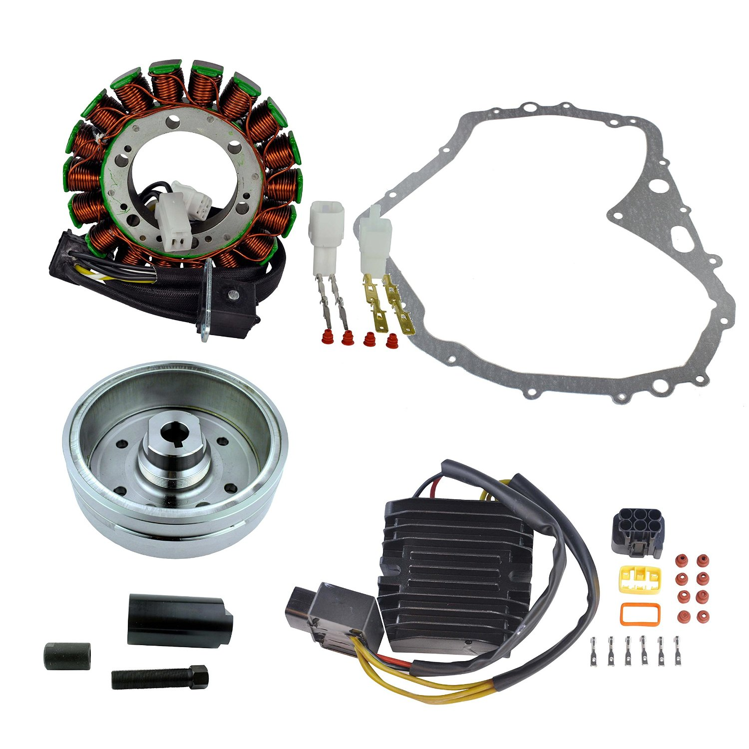 Kit Improved Flywheel + Puller + Stator + Mosfet Regulator + Gasket For Suzuki LTF 400 Eiger 4x4 Manual 2002 2003 2004 2005 2006 2007