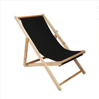 Folding Wood Beach Sling Deck Chair with Stripe