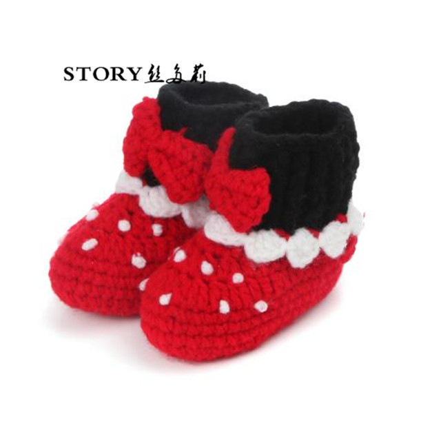 1ffe5e9d0ce Winter fall Newborn baby infant girl boy handmade kids hand knitted soft  polka dot high-
