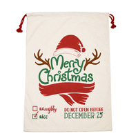 New Santa Sacks Christmas Supplies Santa Claus Reindeer Drawstring Gift Bag Christmas Canvas Santa Sack Multi-Color Random