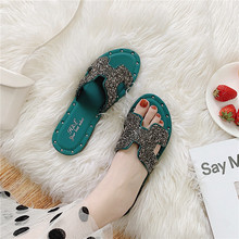 2019 slippers shoes women rhinestones slippers beach nice slippers women flat women slide sandals h-letter