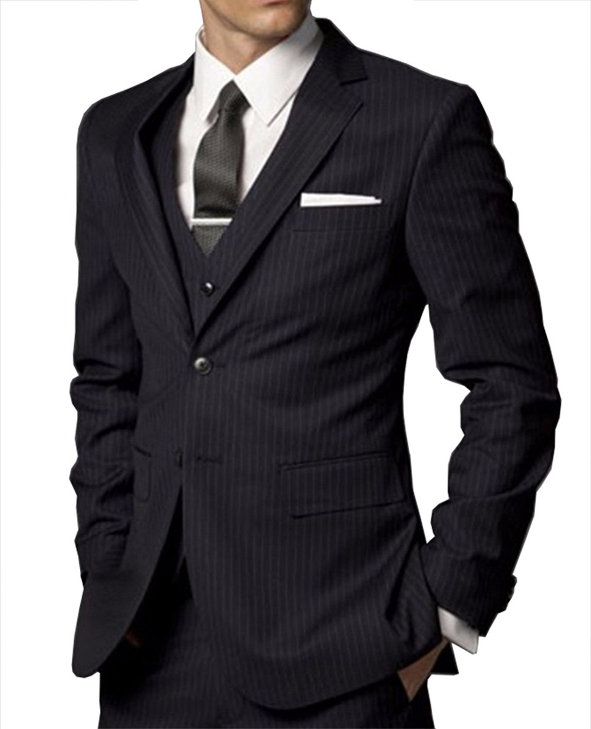 dd68997e3765 Get Quotations · Fitty Lell Men's Suit Slim Fit Notch Lapel Formal Business Men  Suit Black Three Piece Jacket