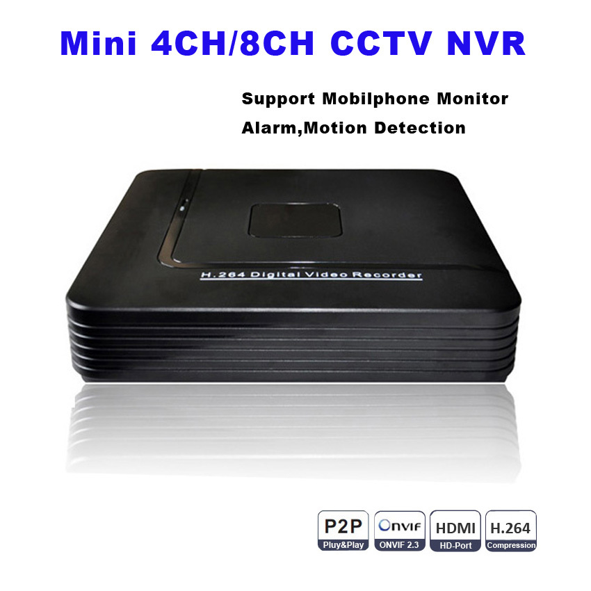 CCTV Mini HD NVR 4CH Video Recorder Onvif 8 Channel H.264 Network DVR For 720P 1080P IP Camera Security System P2P Best Price