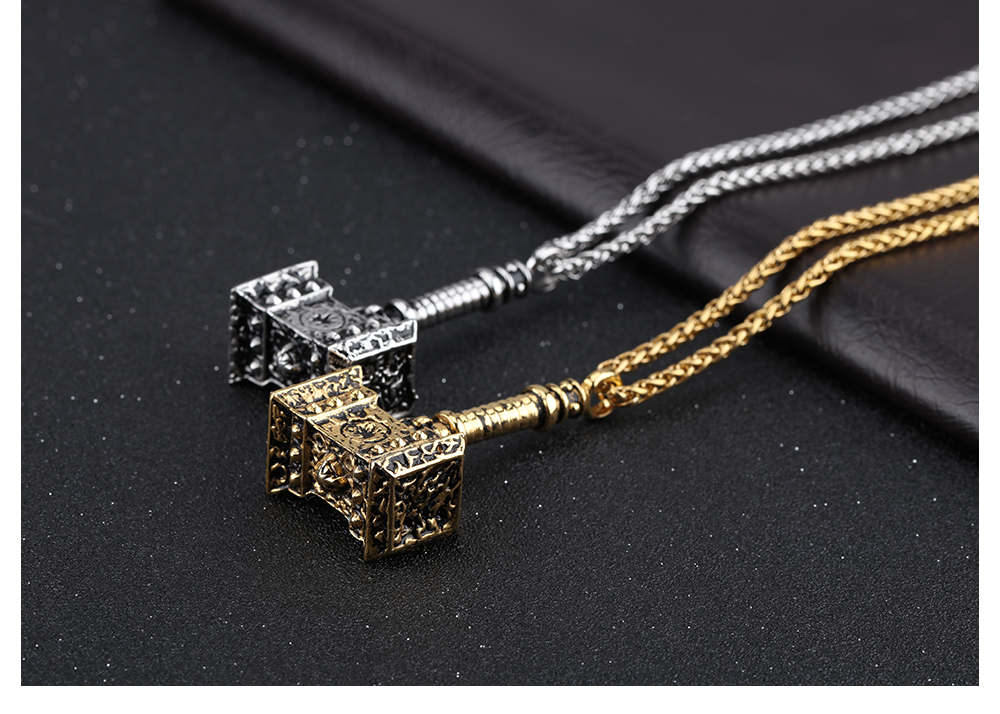 Wholesale Fashion Men Necklaces Thor's Gold Hammer Stainless Steel Charm Pendant