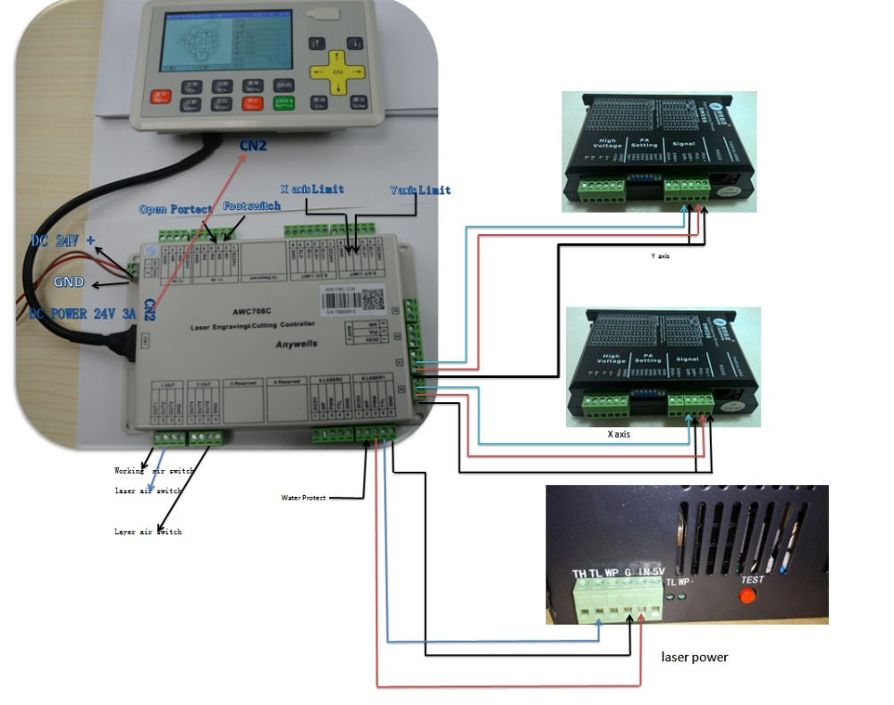 Awc708c Lite Co2 Laser 4 Axis Dsp Controller For Cutting Engraving Machine Wiring Diagram
