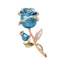High Quality Handmade Luxury Ladies Blue Enamel rose flower brooches
