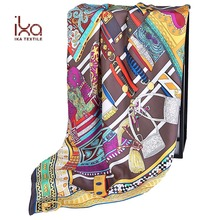 Soft % 100 Silk Ladies's Screen Printed Twill Silk Scarf Malaysia