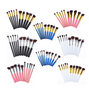 Factory OEM Custom logo BS small brushes Blue black wood soft synthetic maquiagem makeup brush set