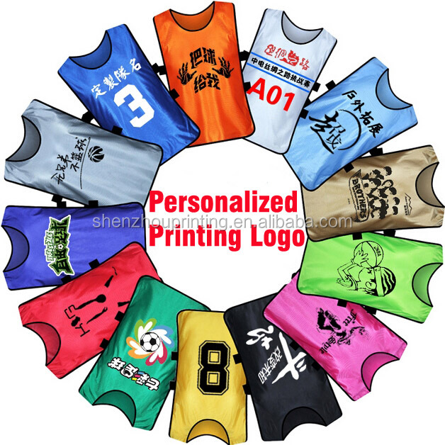 Cheap good quality custom logo numbered soccer sportswear training vests mesh football bibs