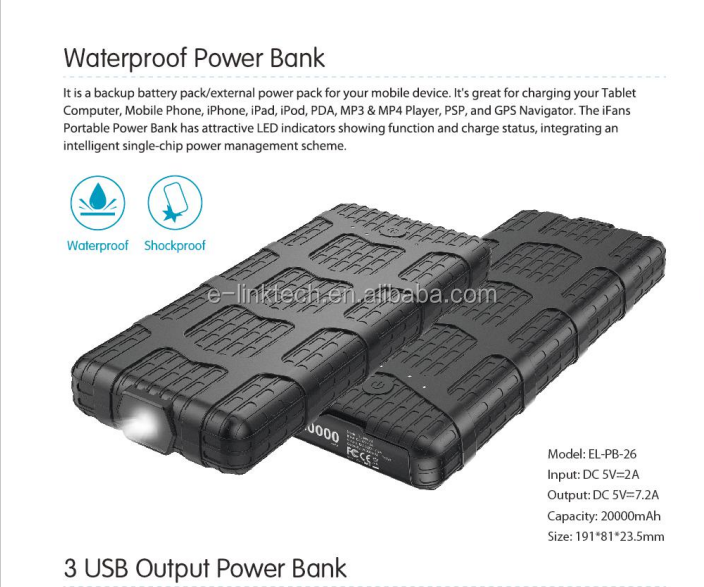 Waterproof IP67 backup disposable mobile charger Power bank with 20000mah battery cell for iphone Galaxy S7/S8