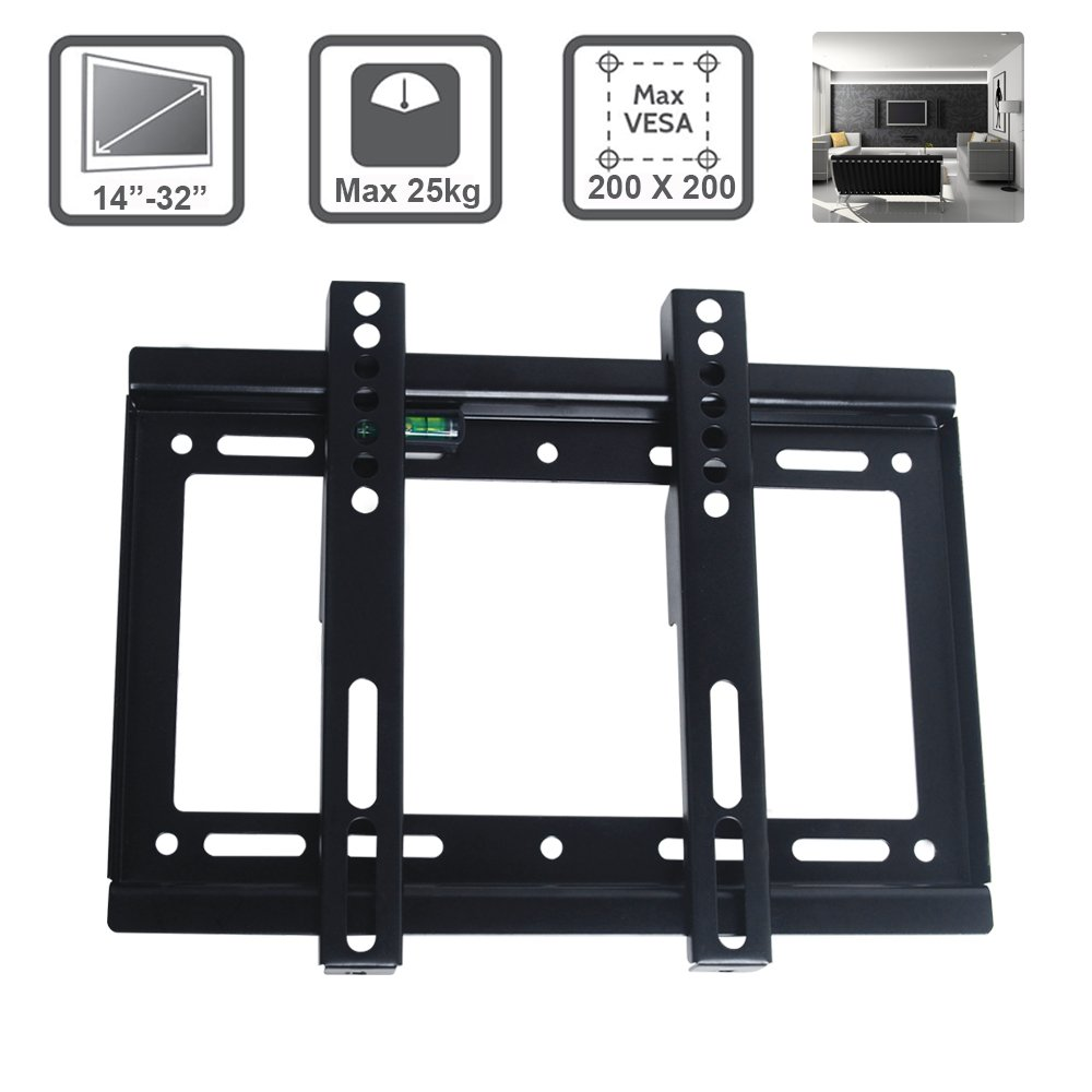 Excellent TV Wall Bracket for 14-32 Inch LCD LED Max VESA 200*200mm Super Strong 55 lbs Weight Capacity Mobile Handle Pole 223mm