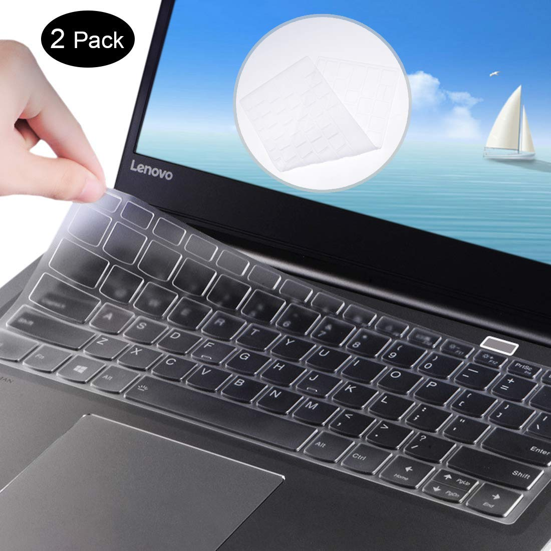 [2 Pack] Silicone Keyboard Protector Skin for Lenovo Flex 6 14 inch, Flex 5 14 inch, Flex 5 15.6 inch, Lenovo Yoga 720 15.6 inch Laptop Anti Dust Keyboard Cover (Clear)