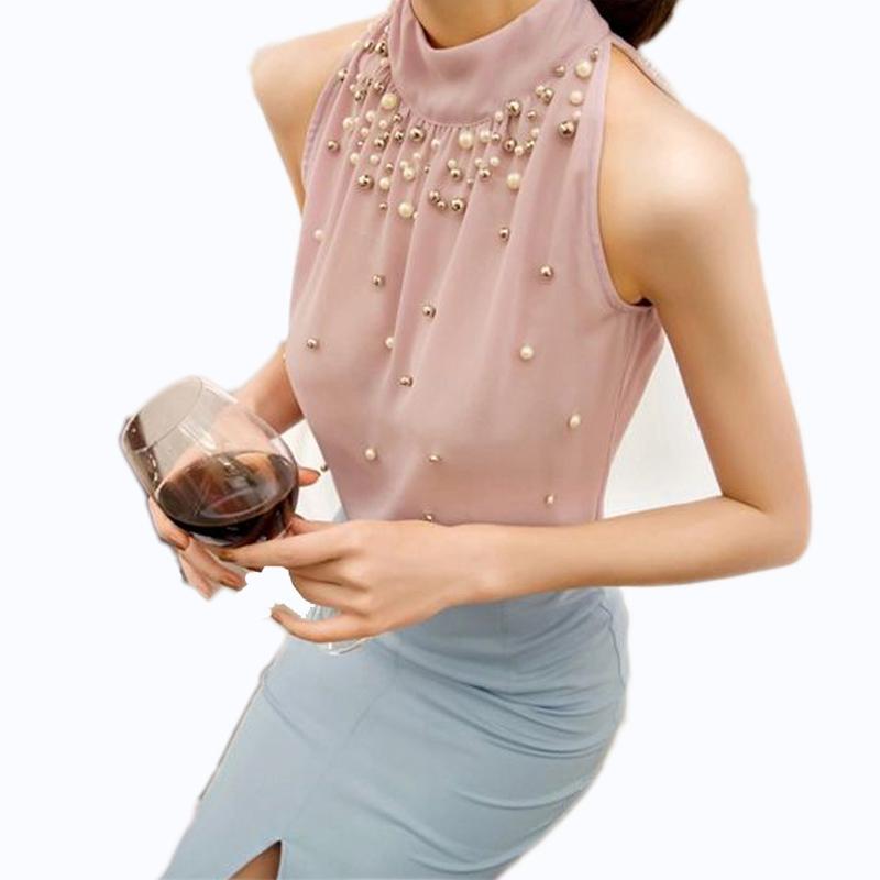 0d5d6e2425345 2015 New Women Beading Chiffon Blouse Korean Fashion Sleeveless Women  Turtleneck Chiffon Blouse Shirts Womens Top