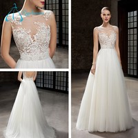 White Applique Sheer Neck Wedding Dress Bridal Gown