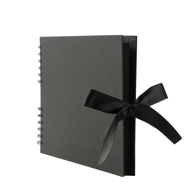 "11.6""L x 8.27""W x 0.75""H Black Scrapbook Albums with 80 Pages Make Handmade Photo Album DIY"