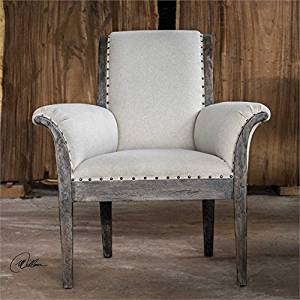 Ambient Craftsman Built From Solid Plantation Grown Mango Wood In A Weathered Driftwood Finish With Deep Graining, Antique White Polyester With Antique Bronze Nail Head Trim Fabric Armchair