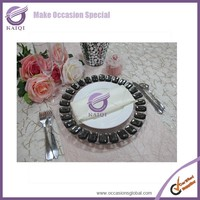 18117 big black rhinestone circle clear glass decor plates