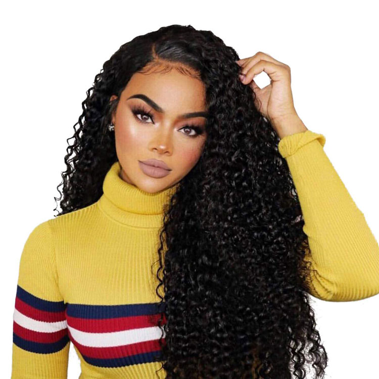 Curly extensions 360 lace frontal Full lace 22 inch asian women human hair closure black long wig фото