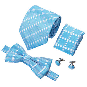 S-109 Men Slik Checked Cooling Neck Ties Blue Bow Tie Set