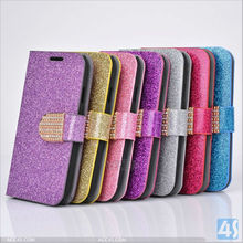 Silver Luxury Aluminum Bling Glitter Chrome Hard smart quality for samsung note n7100 wallet leather case P-SAMN7100CASE047