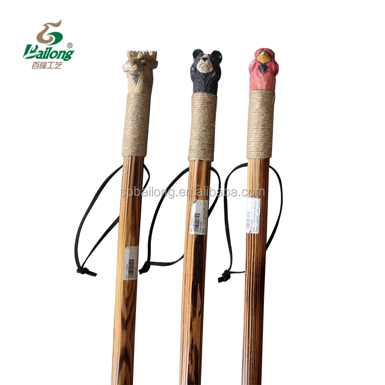 15 years factory carved indian totem design handle varnished natural wooden walking stick