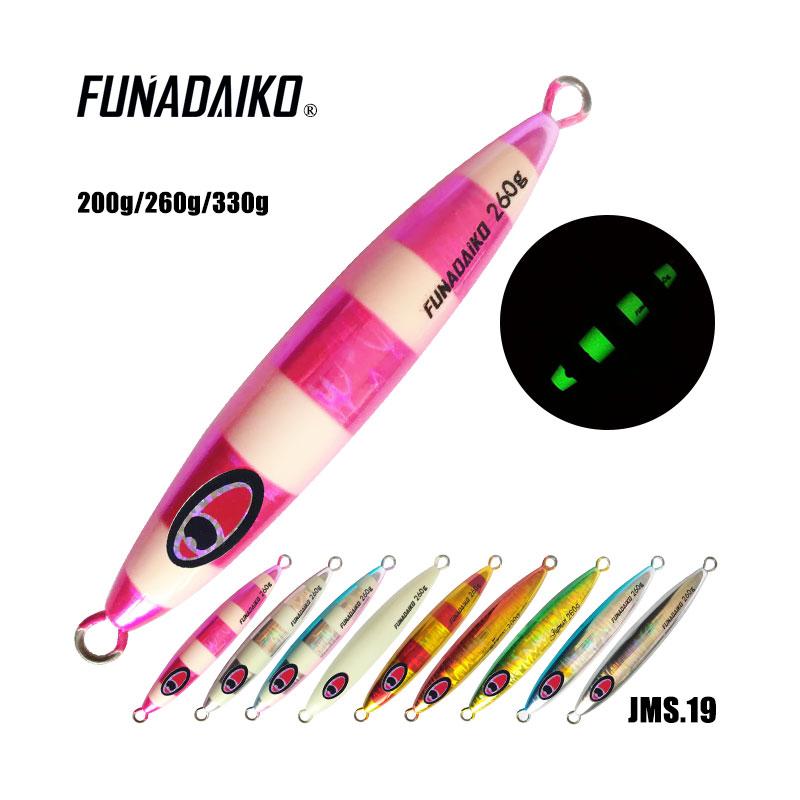 FUNADAIKO 150g lead fishing metal jig luminous fishing lure hard slow pitch jigging lure, Various colors or customized