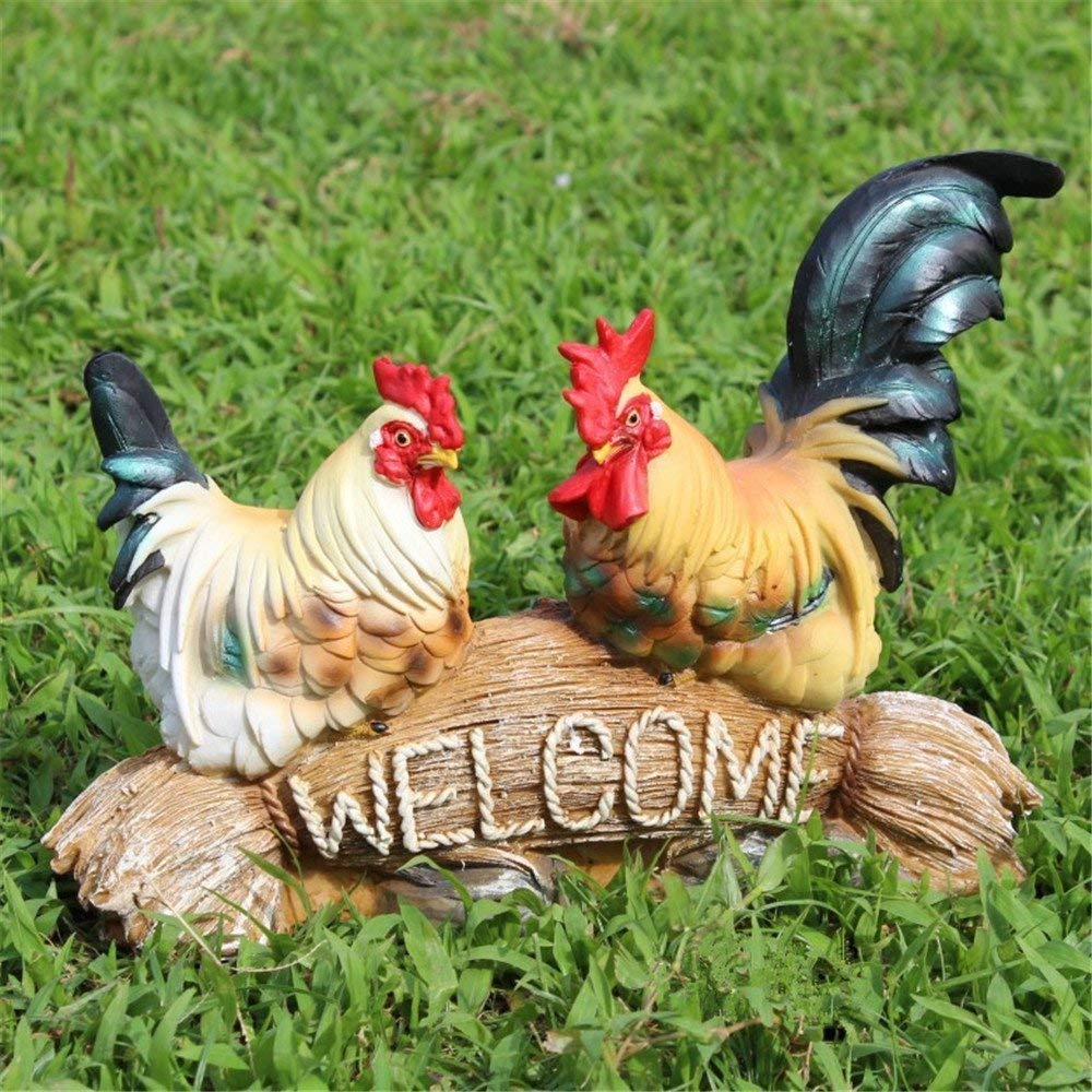 Hen and Rooster Farm Animals Figurine Garden Decoration Resin