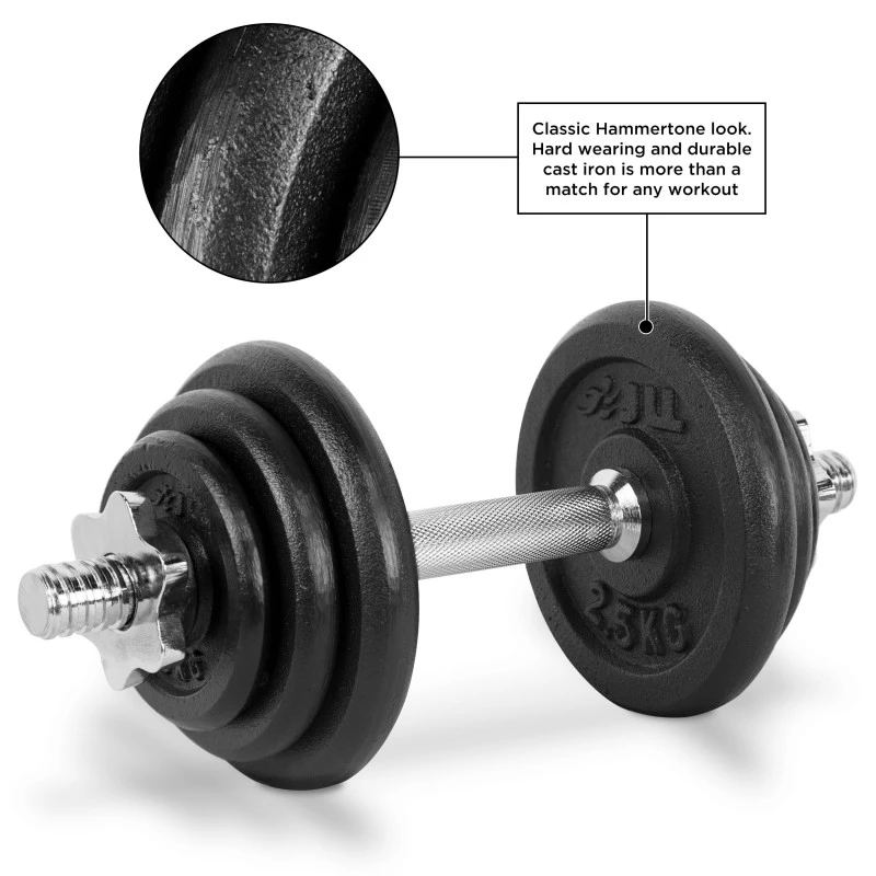 Black Color Iron Cast Weightlifting Barbell Adjustable Dumbbell Set
