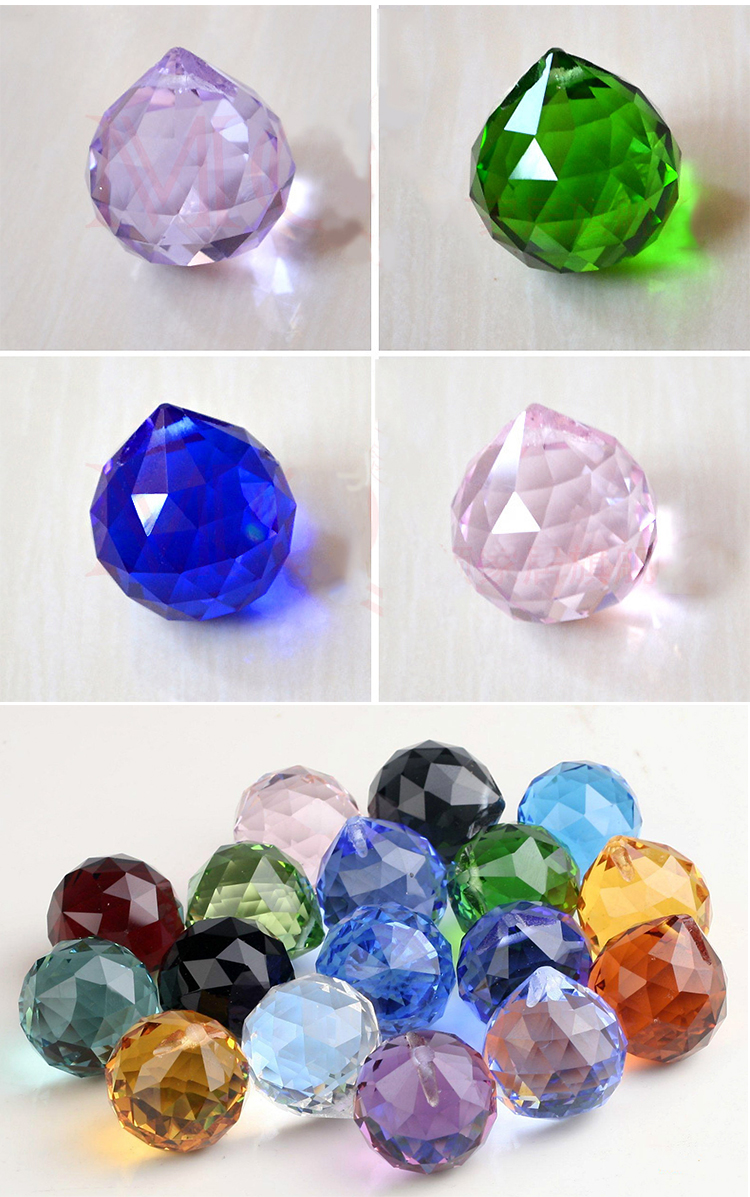 Wholesale 20mm 30mm 40mm clear glass christmas decorative faceted crystal balls pendant lighting balls