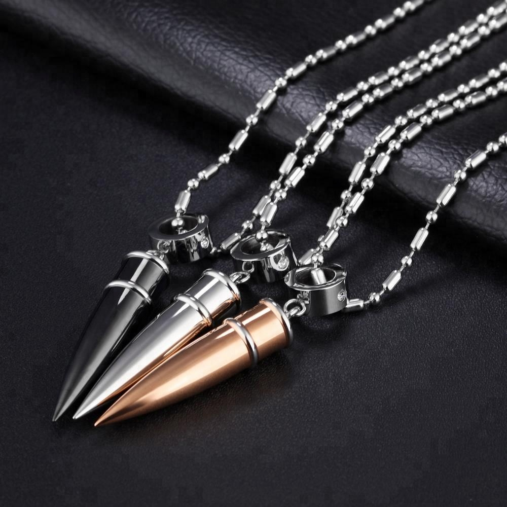 Men 316L Stainless Steel Jewelry Chain With Pendant Bullet Necklace фото