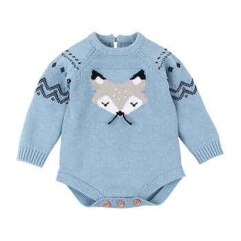 Christmas Baby Cartoon Fox Jumpsuit Toddler Sweater Clothes Knitted Baby Romper