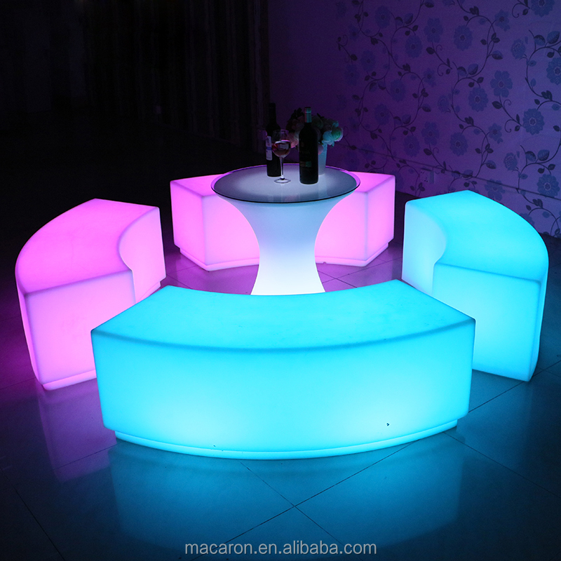 LED Curved <strong>Bar</strong> Stool Luminous outdoor waterproof furniture Party plastic chair furniture