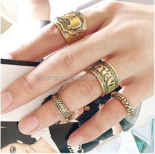 Hot Boho Beach Jewelry Vintage Anillo Unique Carved Antique Elephant Anel Totem Leaf Punk Ring Set for Women