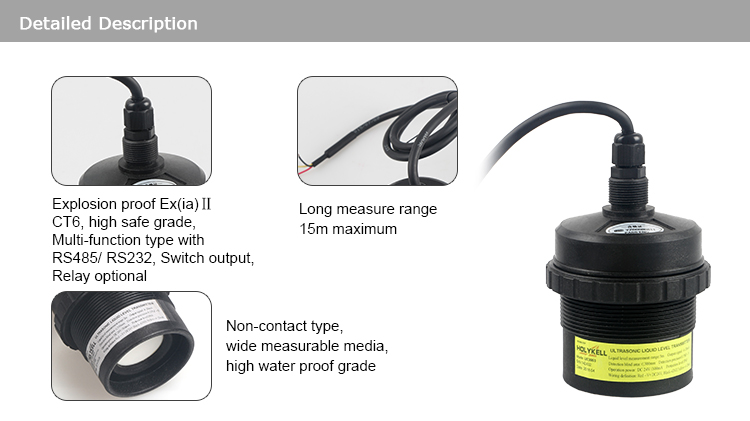 5M 8M 15M Digital Waster Water Ultrasonic Acid Liquid Fuel Tank Level Sensor
