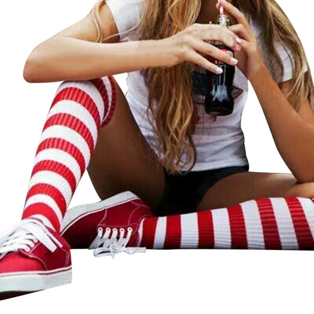 Thigh-High Warm Stockings,Smdoxi Beautiful Girl Women Striped Kntting Long Socks (White and Red)