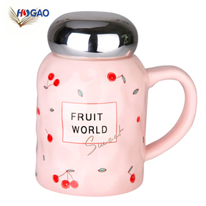 New Korean new products fruit ceramic cup mirror cover relief handle water cup cheap office coffee milk creative mark cup