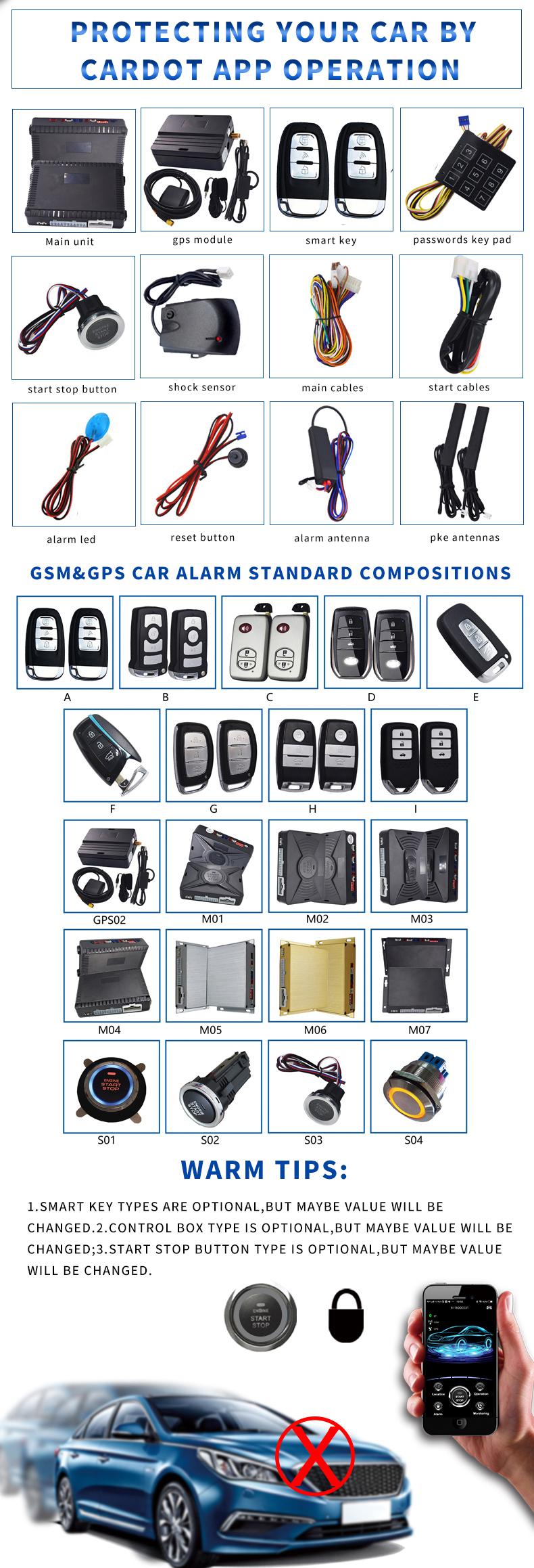 new bluetooth GSM&GPS Smart phone APP Start Stop Remote start stop push start stop Car Alarm