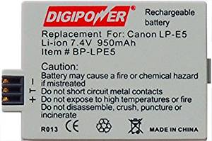 Digipower BP-LPE5 Replacement Li-ion Battery for Canon LP-E5