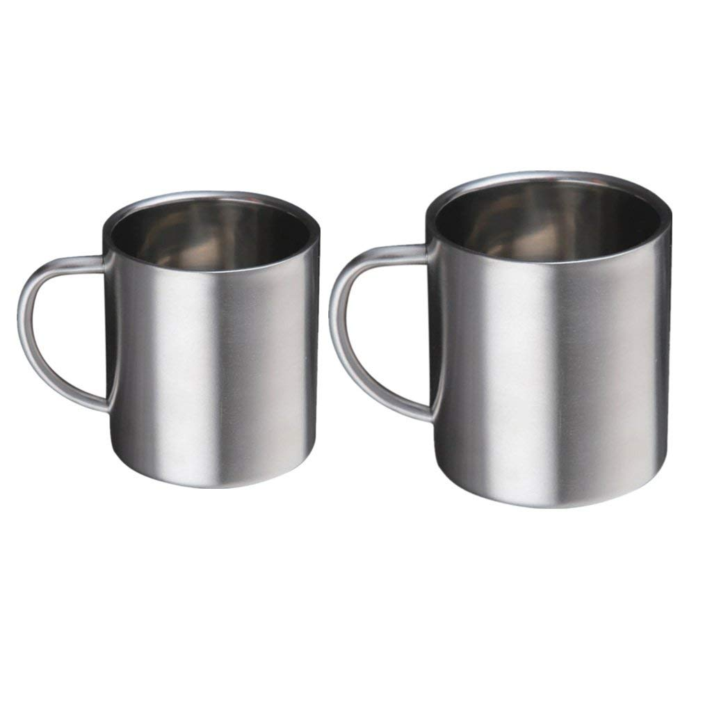 MagiDeal 2Pcs DOUBLE BARREL Double Wall Insulated Stainless Steel Beer and Coffee Mug (300ml + 400ml)