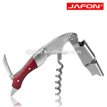Novelty stainless steel wine corkscrew with red pear wooden handle