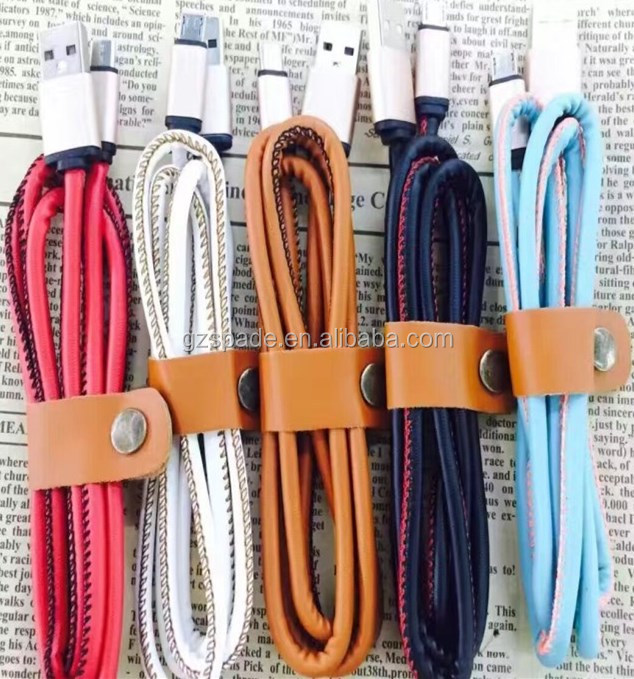 2017 Best Selling Fast Chaonerger Extension PU Leather material USB <strong>Cable</strong> For Mobile Phone