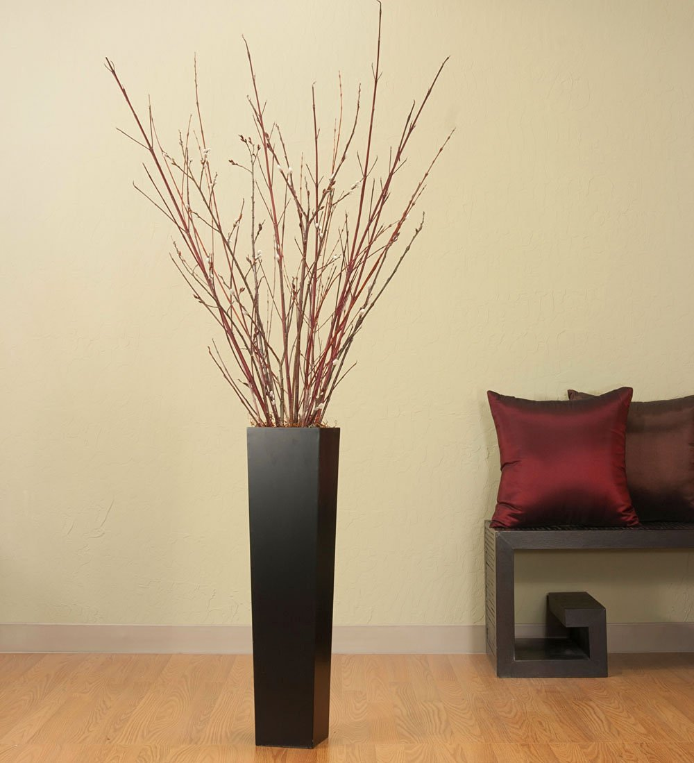 Tall Black Floor Vase Dark Red Branches Willow