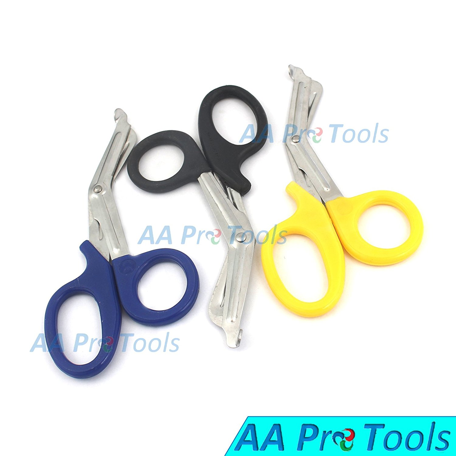 AAPROTOOLS ( BLACK & YELLOW & BLUE ) PARAMEDIC UTILITY BANDAGE TRAUMA EMT EMS SHEARS SCISSORS 7.25 INCH STAINLESS STEEL A+ QUALITY