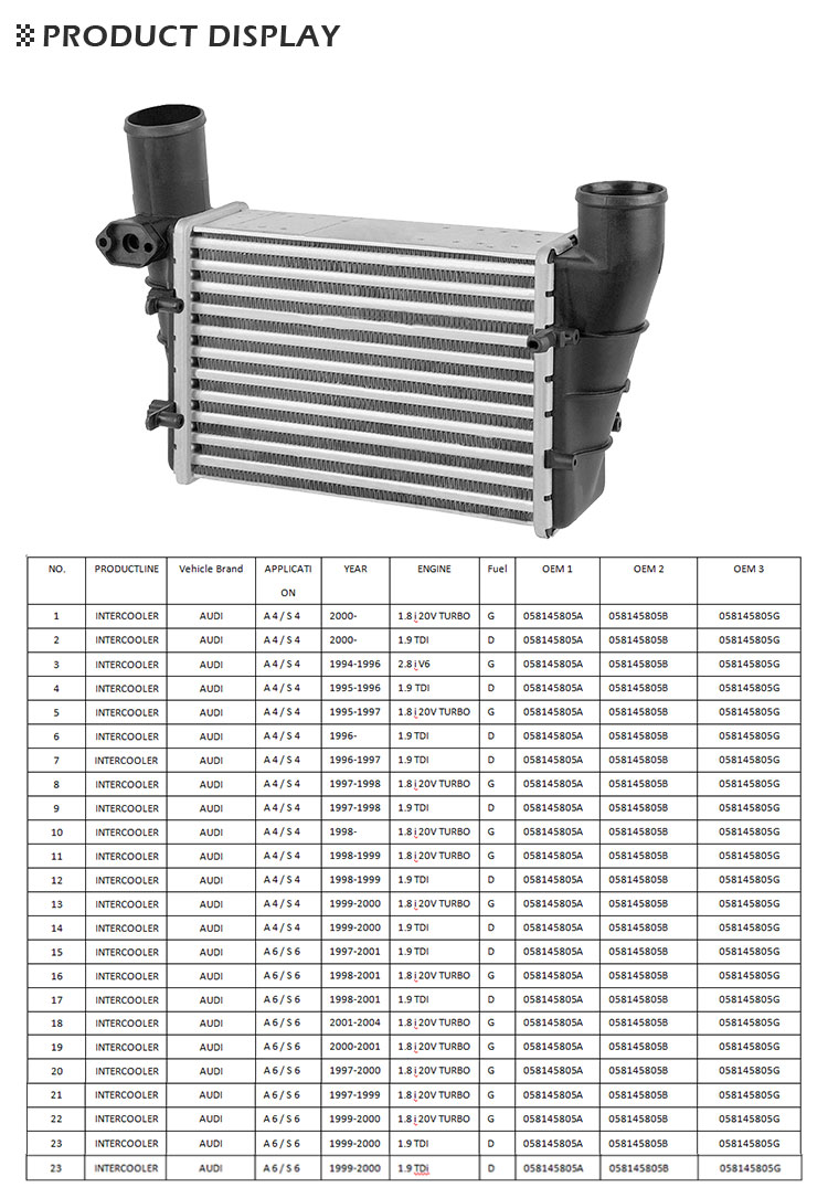 Universal And High Performance Aluminum Truck Radiator /Intercooler /Oil Cooler