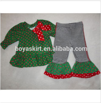 2014 New Design Toddler Girl 2pcs Sets Kids Ruffle Outfit Country