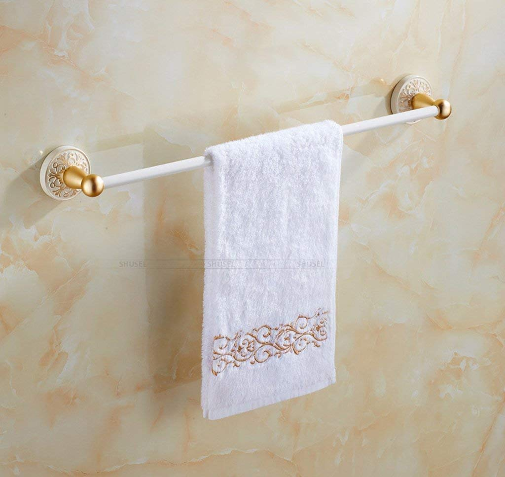 EQEQ Towel Holder White Grilled Lacquer Towel Holder Double Gold More Towel Holder Know in The Space of Style of The Towel Rack Aluminum