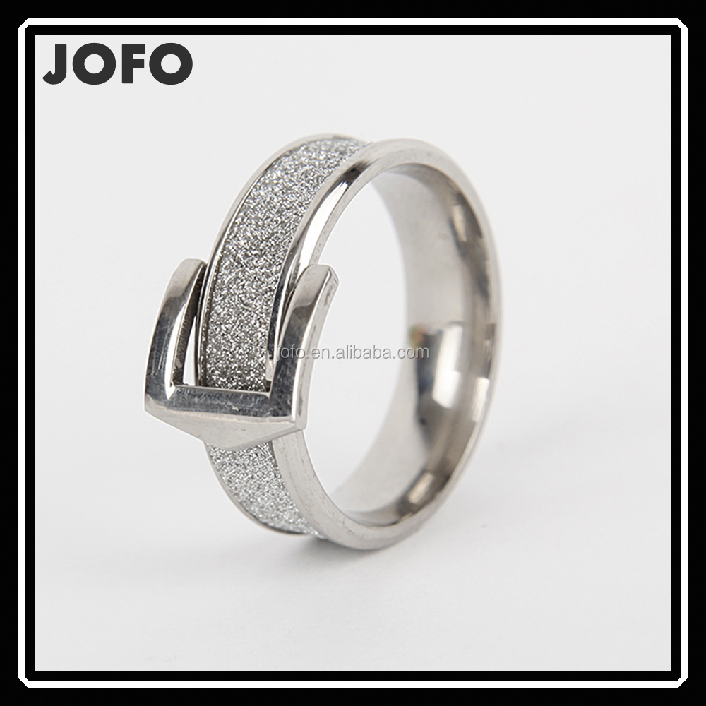 Buckles Design Glitter Paper Bling Bling Stainless Steel Ring For Women Fashion Jewelry